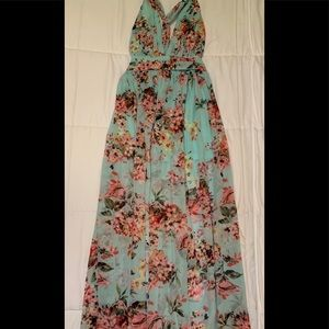 Mint Floral Print Maxi Dress